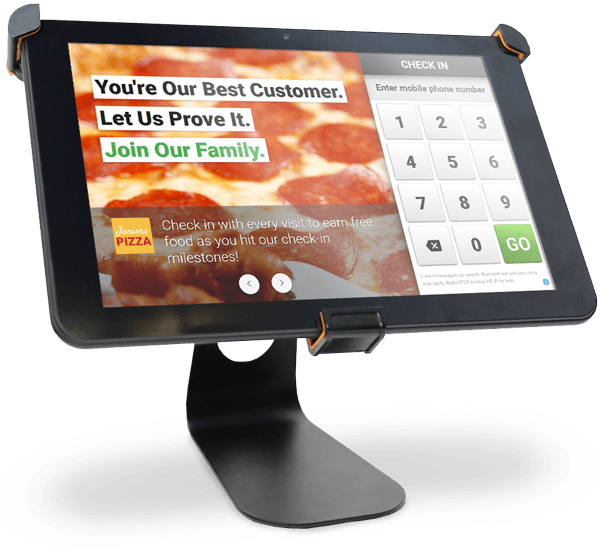 customer loyalty check-in tablet with metal stand